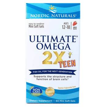 Купить Nordic Naturals Ultimate Omega 2X Teen Strawberry 60 Mini Soft...