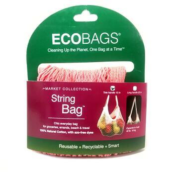Купить Market Collection String Bag Tote Handle 10 in Coral Rose 1 Bag
