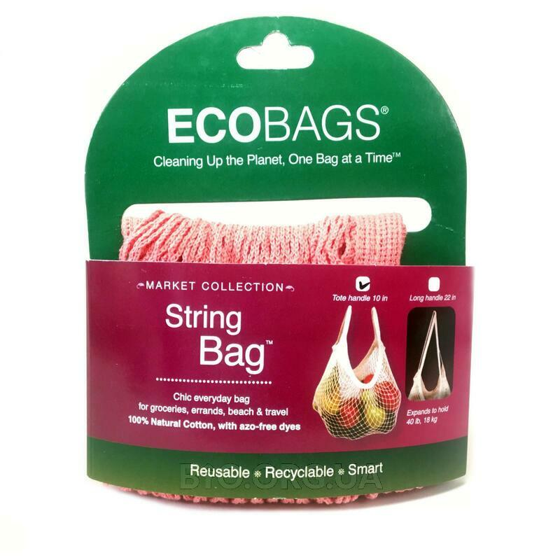 ECOBAGS Market Collection String Bag Tote Handle 10 in Coral Rose 1 Bag