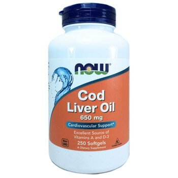 Купить Now Foods Cod Liver Oil 650 mg 250 Softgels