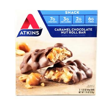 Купить Atkins Advantage Caramel Chocolate Nut Roll 5 Bars 44 g Each