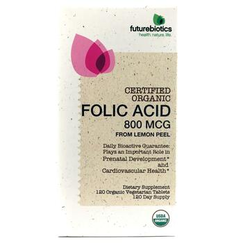 Купить Folic Acid From Lemon Peel 800 mcg 120 Organic Vegetarian Tabl...