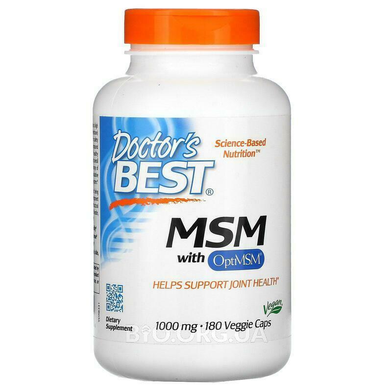 МСМ с OptiMSM 1000 мг 180 вегетарианских капсул фото товара