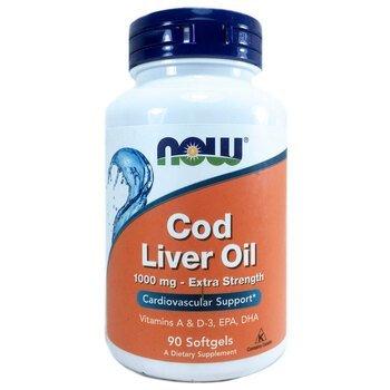 Купить Now Foods Cod Liver Oil Extra Strength 1000 mg 90 Softgels