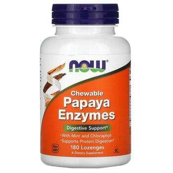 Купить Now Foods Chewable Papaya Enzymes 180 Lozenges
