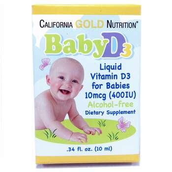 Фото товара California Gold Nutrition Витамин Baby D3 для детей 400 МЕ в каплях 10 мл