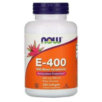 Купить Now Foods Натуральний Витамин E 400 со смешанными токоферолами...