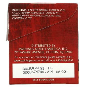 Chai Pumpkin Spice 20 Tea Bags 1.41 40 g  фото состава
