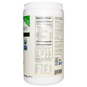 Органический конопляный белок  Hi-Fiber 454 г  фото состава