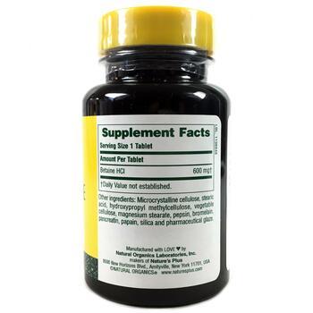 Бетаин Гидрохлорид 600 мг 90 таблеток  фото состава