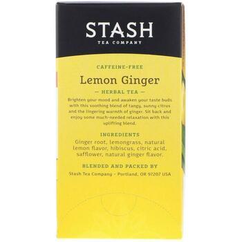 Premium Лимонный имбирь Травяной чай без кофеина 20 чайных пак...  фото состава
