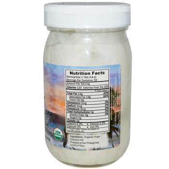 Coconut Oil Organic Virgin 16 454 g  фото состава
