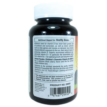 Парад животных Витамин D3 вкус черной вишни 500 МЕ 90 таблеток...  фото применение